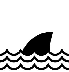 Contour nature ocean waves with shark animal vector