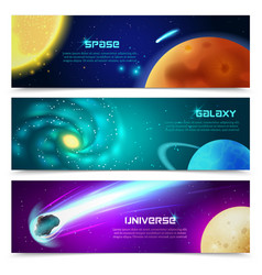 Cosmos galaxy banners set vector