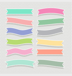 cute soft colorful ribbons set vector image