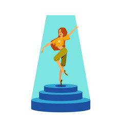 dancer girl standing on stage under spotlight vector image