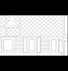 design kitchen in outline vector image