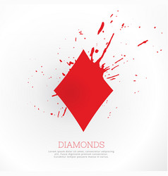 Diamond shape with ink splatter vector