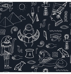 Egypt symbols seamless pattern Sketches vector