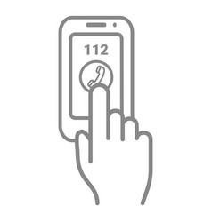 Emergency call number 112 on a touch screen vector