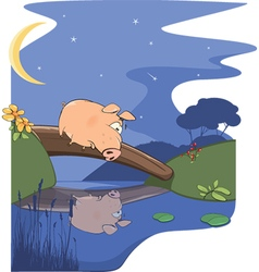 fairy tale about pig and small river vector image