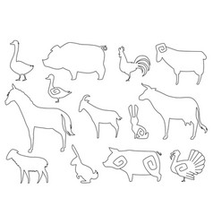 farm animals silhouettes for coloring book vector image