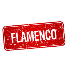 flamenco red square grunge textured isolated stamp vector image