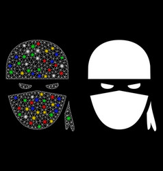 Flare mesh network ninja head icon with light vector