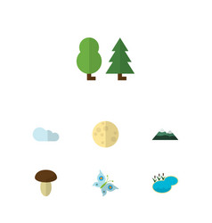 Flat icon natural set monarch forest lunar vector