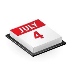 Four July Calendar Icon vector image