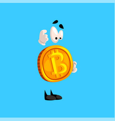 Funny thoughtful bitcoin character crypto vector