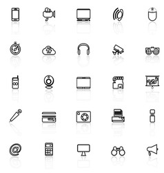 Gadget line icons with reflect on white vector image