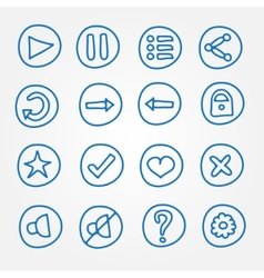 game ui buttons - set doodle hand drawn vector image