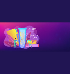Genetic testing concept banner header vector