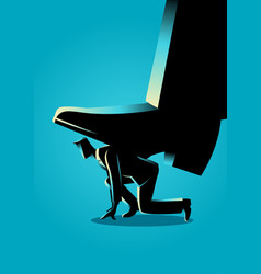 giant foot trampling a businessman vector image
