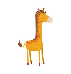 giraffe cartoon colorful silhouette in white vector image