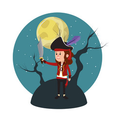 Girl with perate costume and tree branches vector