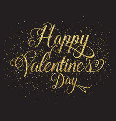 gold glitter valentines day text vector image