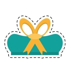 Green gift box wrapped ribbon bow line dotted vector