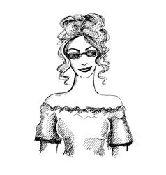 Hand drawn fashionable girl vector image