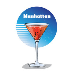 Hand drawn of cocktail manhattan vector
