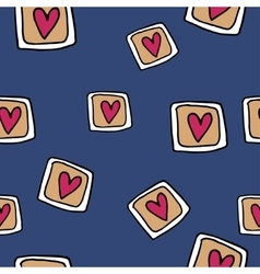 Hand-drawn seamless pattern with hearts vector