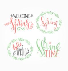 handwritten calligraphic spring lettering set vector image