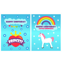 Happy birthday princess poster vector