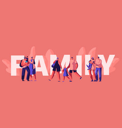 happy family weekend typography poster vector image
