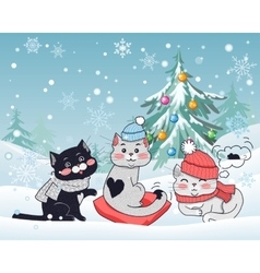 Happy Winter Friends Three Little Cats vector