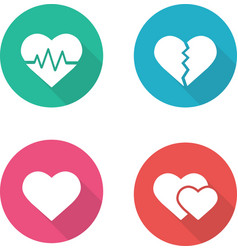 Heart shapes flat design icons set vector