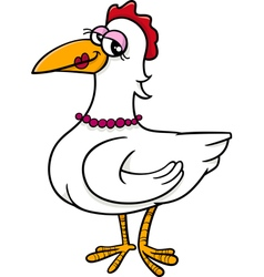 hen farm bird cartoon vector image