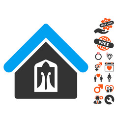 Home icon with lovely bonus vector