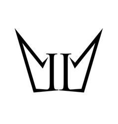 ii number crown shape form symbol design vector image