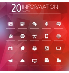 Information icons on blurred background vector