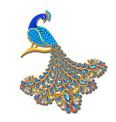Jewelry brooch peacock with precious stones vector