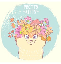 kitten with flowers vector image