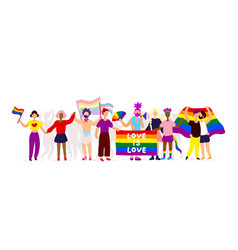 Lgbtq pride activists standing together vector