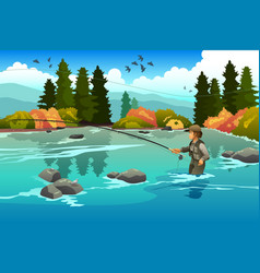 man flyfishing in a river vector image