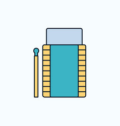 matches camping fire bonfire box flat icon green vector image