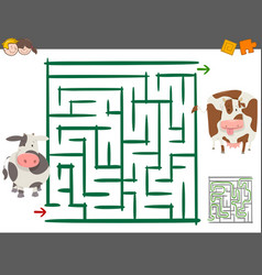 Maze leisure game with cows vector