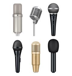 microphones realistic professional media music vector image