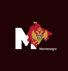 montenegro initial letter country with map and vector image