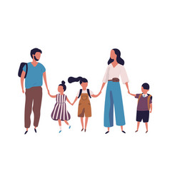 Mother and father leading their children to school vector
