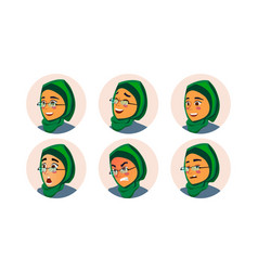 Muslim business woman avatar woman face vector
