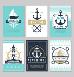nautical cards marine vintage logotypes sea rope vector image