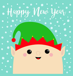 New year santa claus elf face head icon green hat vector