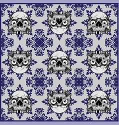 ornamental skull seamless pattern vector image