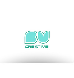 Pastel green alphabet letter bv b v combination vector