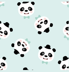 pattern funny panda with hat vector image